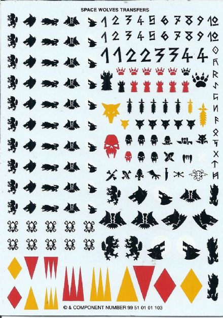 Space Wolf Wolves Transfer Sheet #99 51 01 01 103